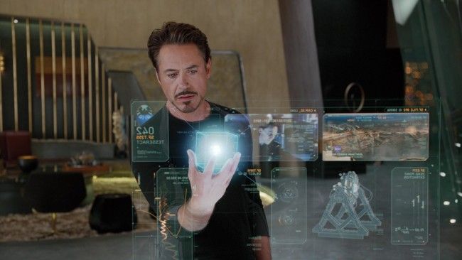 Tony Stark studying the Tesseract in 'The Avengers.'